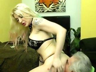 Hooker Makes Her Diminutive Penis Customer Slurp Her Asshole - Leya Falcon