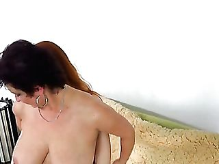 Lengthy Haired Red-haired And Charming Chubby Dark Haired Matures Lesbo Fuck Together