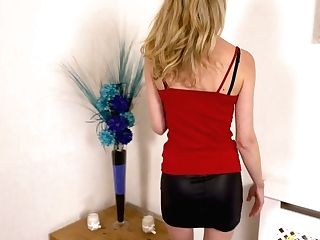 Long-legged Chick In Brief Microskirt Leah Taunt With Her Underpants And Fuckbox