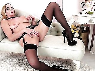 Buxom Ardent Lady Elegant Eve Stripteases To Go Solo On Her Own