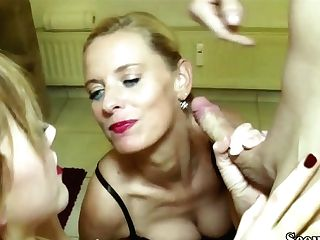 German Mom Train Step-daughter-in-law To Fuck And Join In 3some