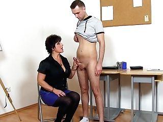 Raw-boobed Wifey Educator Prostate Stimulation Man