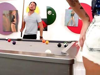 Brooke Plays Sexy Billiards With Vans Scrotum