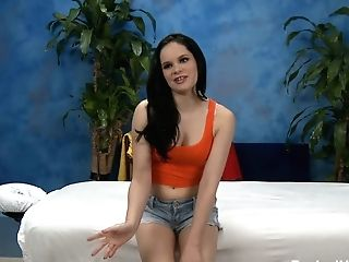 Dark Haired Sweetie Jenna In Sexy Jeans Cut-offs Is One