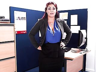 Big Titted Tattooed Office Whorey Mummy Roxy R Strips And Taunts Her Own Twat