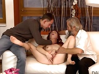 Daddy4k. Severe Stud Toughly Penalizes Teenager For Joy With His Old Dad
