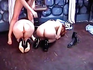 Dark Haired Superslut Predominates Two Bi-otches