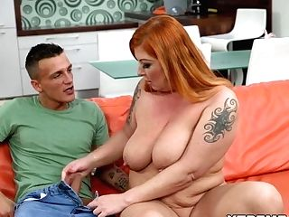 Tattooed Redhed Mom Fucks A Junior Dude