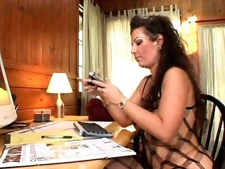Voluptuous Brown-haired Cougar Anjelica Lauren Fucking In The Office
