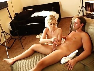 Blonde With Big Jugs Gets Her Beaver Spread By Hard Love Wand