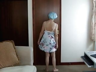 Catwalk In Beautiful Night Sundress, Naked Gams And Moist Hair After Douche...!